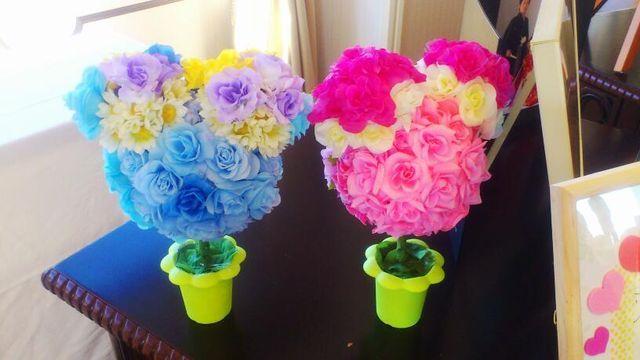 ミッキ-&ミニ-の植木鉢風飾り
