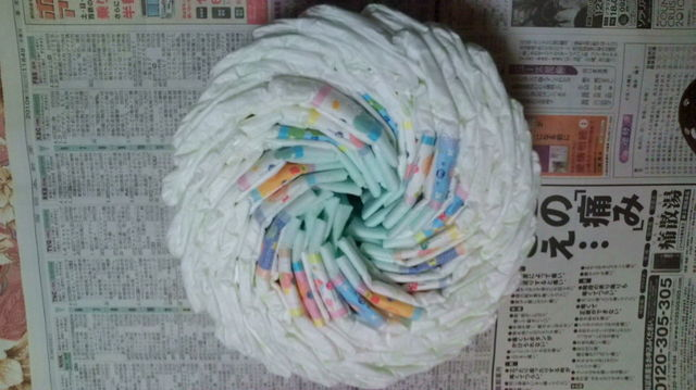 丸めないおむつケーキの作り方1