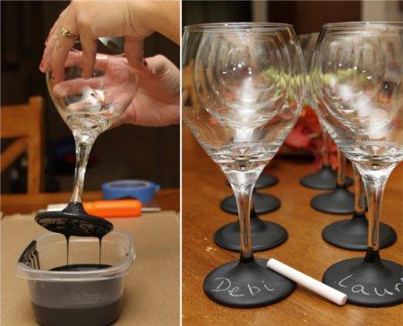 ワイングラスの黒板塗装の方法