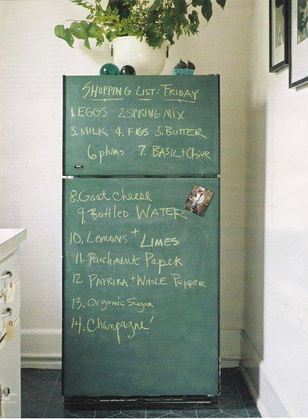冷蔵庫を黒板塗料でリメイク