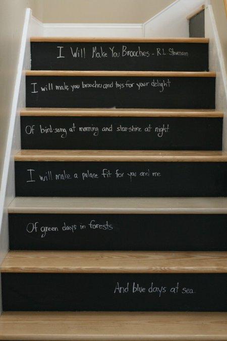 家の階段を黒板塗料でリメイク