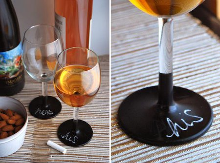 ワイングラスを黒板塗料でリメイク