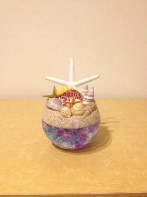 貝殻やビー玉で作ったリングピロー